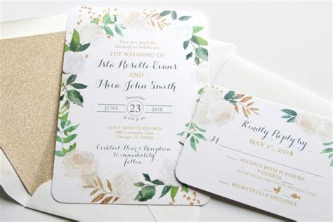 printed wedding invitations white roses floral greenery