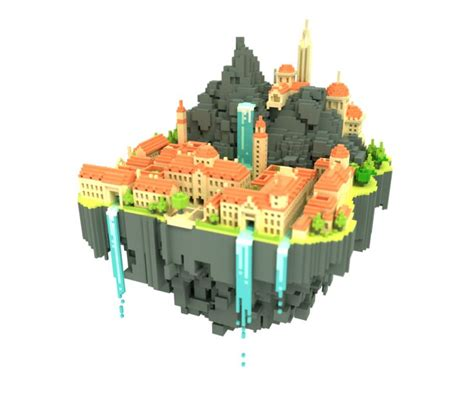 simple voxel floating island blender 3d youtube 490 best images about isometric design on pinterest