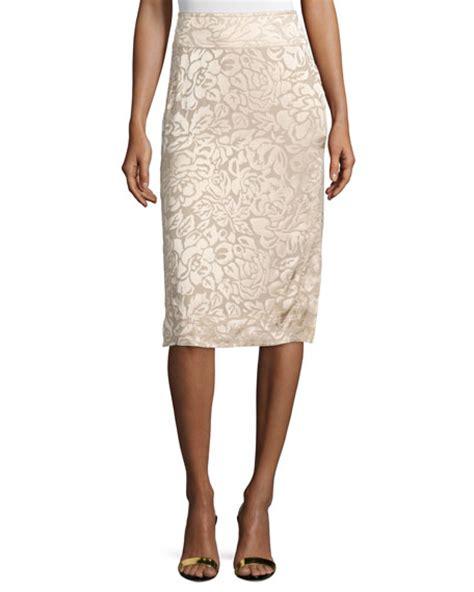 donna karan floral embroidered pencil skirt parchment