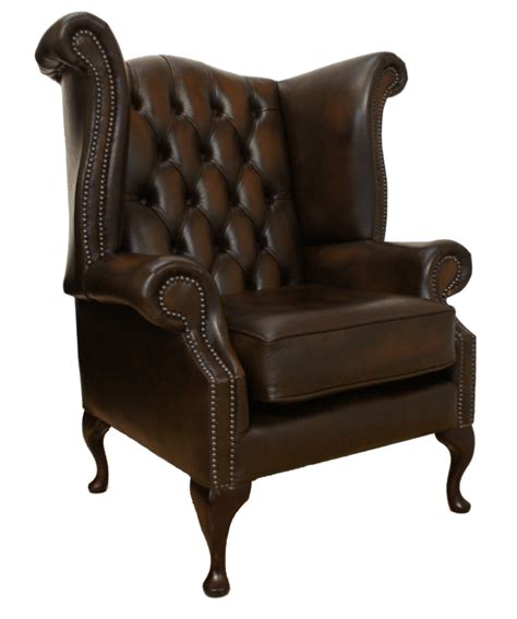 high back winged leather armchairs chesterfield queen anne high back wing chair antique brown