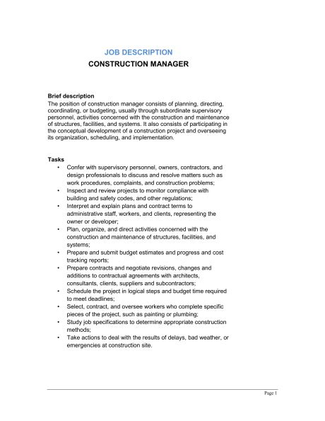 construction description template construction manager description template sle