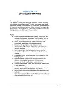 Construction Manager Responsibilities by Construction Project Manager Building And Construction Description