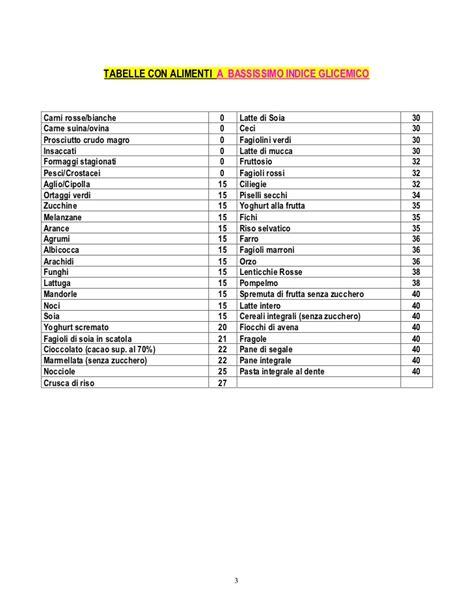 indice glicemico alimenti tabelle indice glicemico
