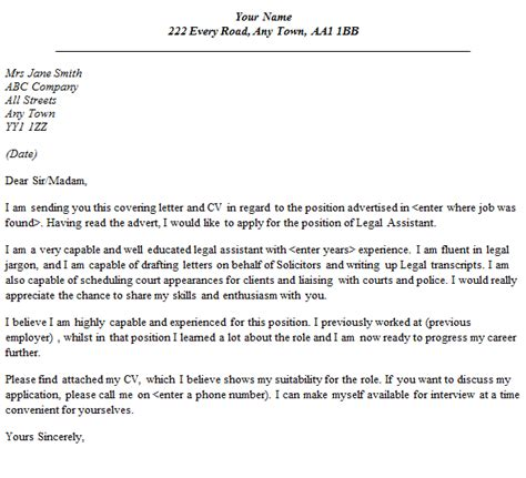 cover letter exles for paralegal assistant cover letter exle lettercv