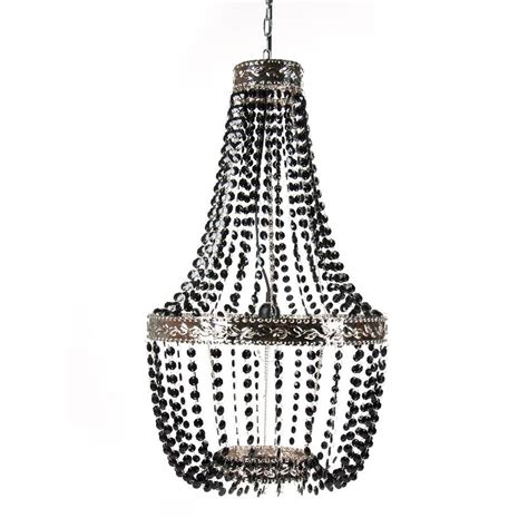 Tadpoles Chandelier Tadpoles 1 Light Black Onyx Beaded Chandelier Cchbed020 The Home Depot
