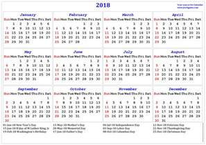 Calendar 2018 With Holidays List 2018 Calendar Printable Calendar 2018 Calendar In