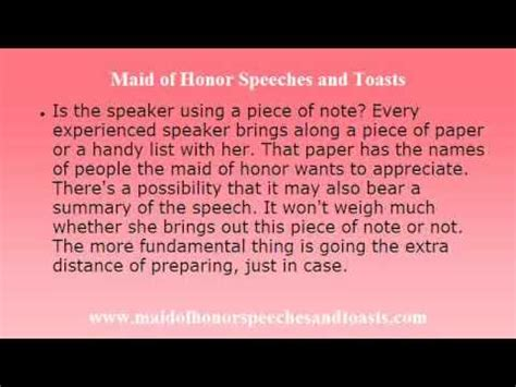 maid  honor speech  toast discover  aspects