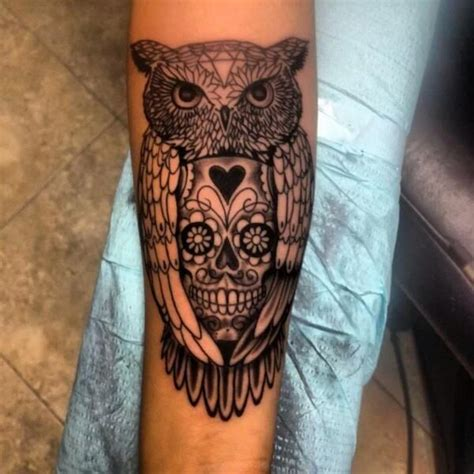 tattoo owl with skull meaning owl skull tattoo forearmdenenasvalencia