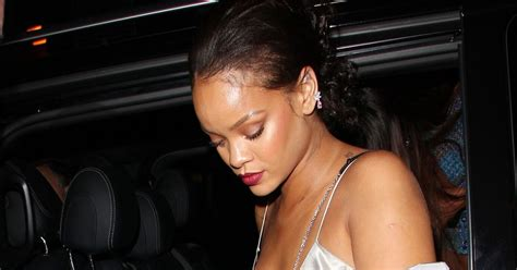 Slinky Silver For Autumn Nights Out by Rihanna Slips Into Slinky Silver Dress For Out In