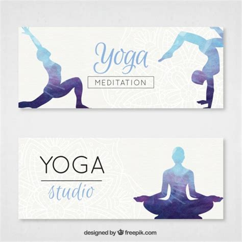 banner design for yoga yoga banners set with watercolor silhouettes vector