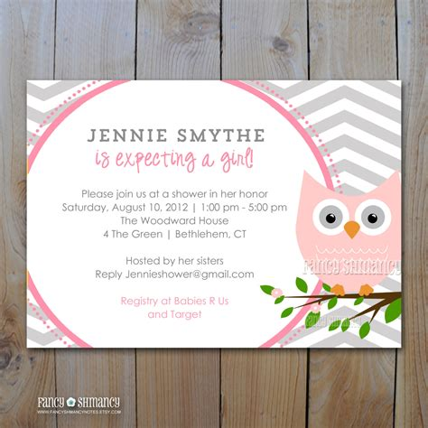 Pink And Grey Baby Shower Invitations by Owl Baby Shower Invitation Grey And Pink By Fancyshmancynotes