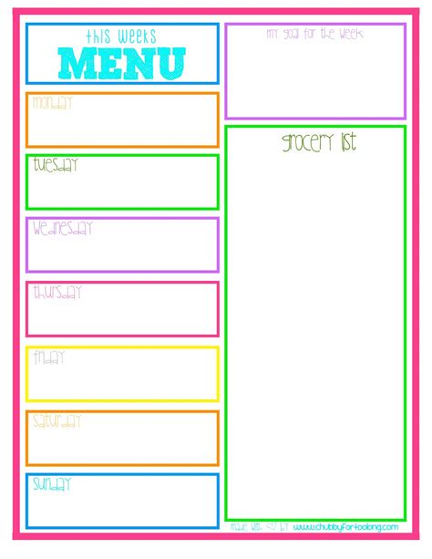 for menu planning printable free printable