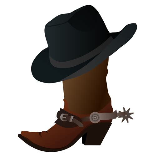 clipart cowboy boot and hat
