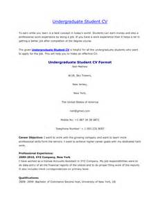 Undergraduate Resume Exle by Cv Template Undergraduate Http Webdesign14