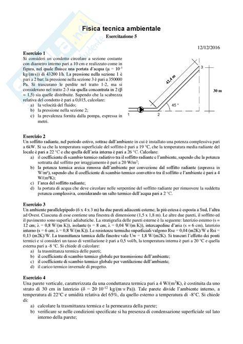 coefficiente liminare interno fisica tecnica esercizi di ripasso