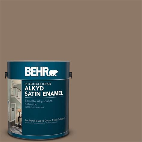 behr 1 gal ppu5 5 coconut shell satin enamel alkyd interior exterior paint 793001 the home depot