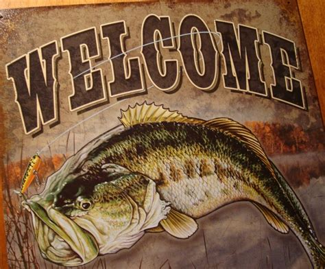Bass Fishing Home Decor Large Welcome Drop A Line Bass Fishing Lodge Fisherman Cabin Sign Home Decor New Ebay