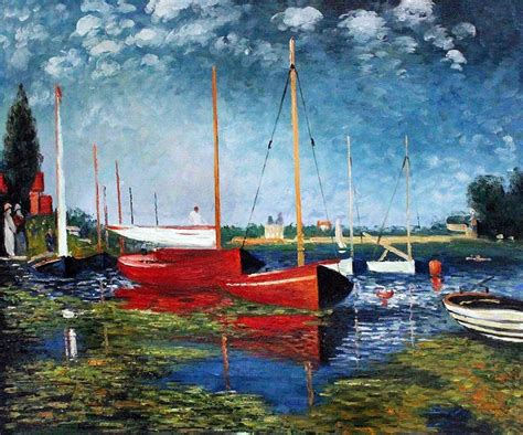 monet boats at argenteuil impressionist painting red boats at argenteuil by claude
