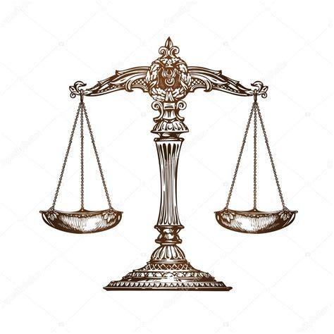 imagenes de justicia en dibujo balanza de la justicia vector de dibujo vintage vector