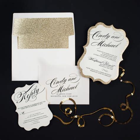 gold sparkle wedding invitations gold glitter wedding invitations chic shab
