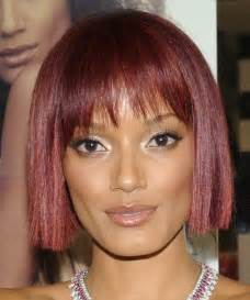 Very sweet bob with angled font fringes for short thin hair