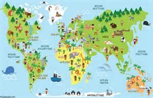 carte du monde animaux monuments et enfants des