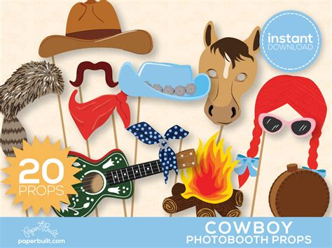 wild west printable photo booth props western photo booth props wild west rodeo by paperbuiltshop