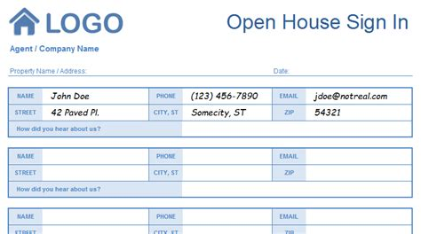 open house sign in sheet template open house sign in sheet templates printable