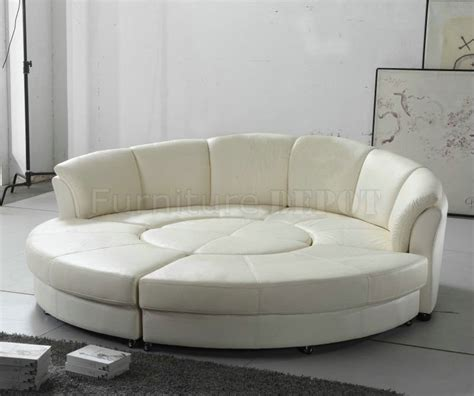 Circle Sectional Sofa 2276 Circle Sectional Sofa In White Bonded Leather By Vig