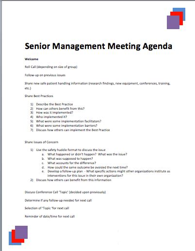 sle senior management agenda 187 printable meeting agenda