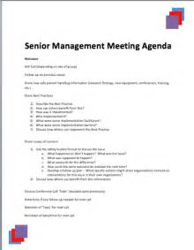 Manager Meeting Agenda Template by Sle Senior Management Agenda 187 Printable Meeting Agenda