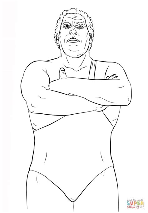 wwe andre the giant coloring page free printable