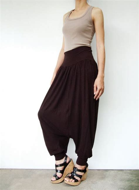 Pari Spandex Rayon 02 no 74 brown rayon spandex harem casual evening all occasion cropped trousers