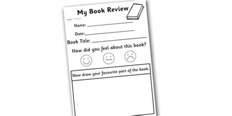 book template ks1 my book review writing worksheet kid literacy