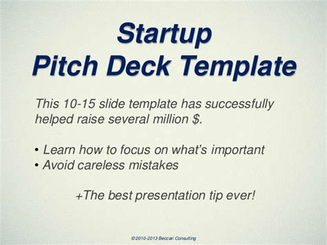 pitch deck template startup pitch deck template