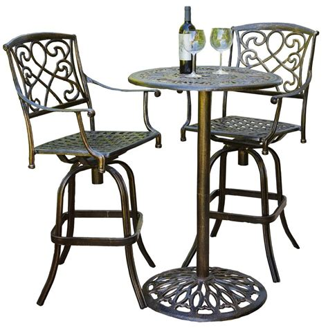 Outdoor Bistro Table Set Bar Height Cast Aluminum Brown Outdoor Bistro Bar Set Outdoor Bistro Sets At Hayneedle