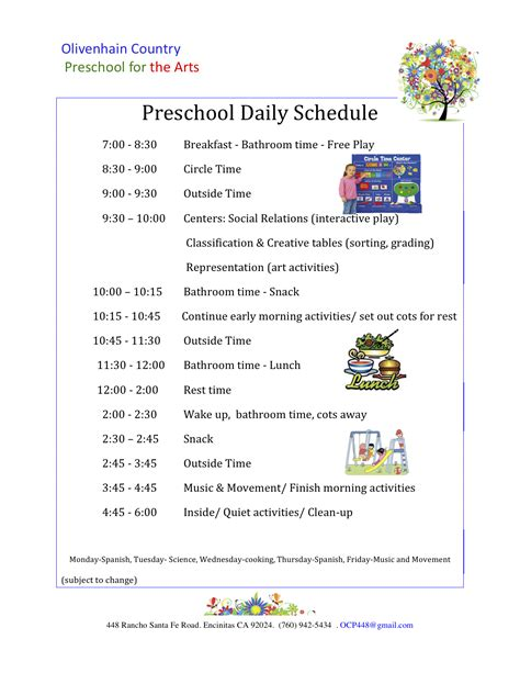 printable daily schedule for day care preschool schedule template 28 images best photos of