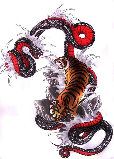 japanese snake tattoo designs amazing strong tiger and belly snake