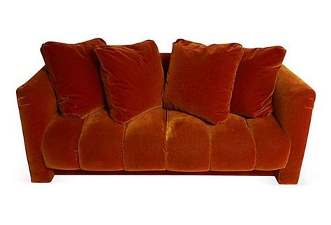 burnt orange sofa pillows mohair burnt orange sofa w pillows on onekingslane