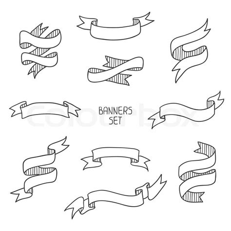 doodle ribbon vector free vintage ribbon banners set for design vector