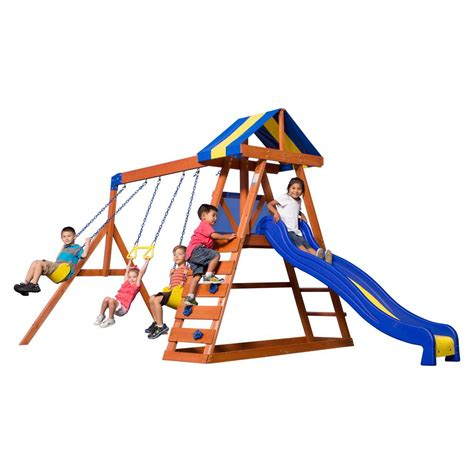 backyard discovery dayton cedar wooden swing set backyard discovery dayton all cedar playset 65014com the home depot