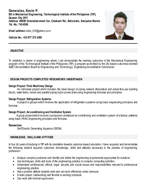 Resume Sle In Ojt Sle Resume For Ojt Mechanical Engineering Students 28 Images Mechanical Engineering Student