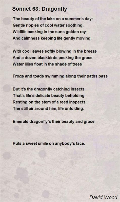 sonnet 63 dragonfly poem by david wood poem hunter