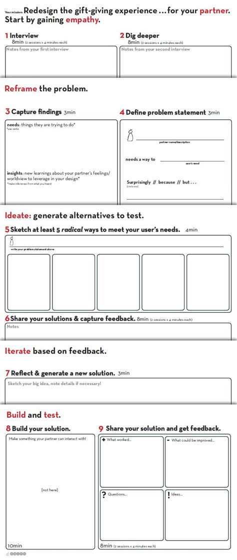 design thinking workbook worksheet provided by d school stanford http dschool