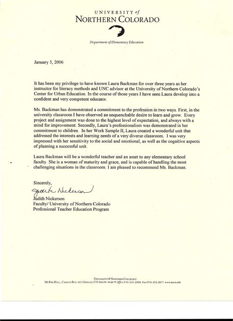 Reference Letter For Special Education Aide Letter Of Recommendation From Judith Nickerson Faculty Of Professiona