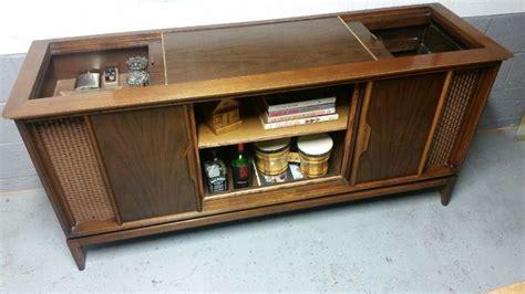magnavox tv stereo cabinet repurposed as a credenza