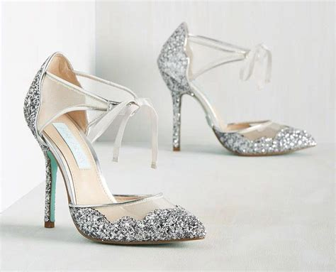 sparkly silver wedding shoes for snazzy