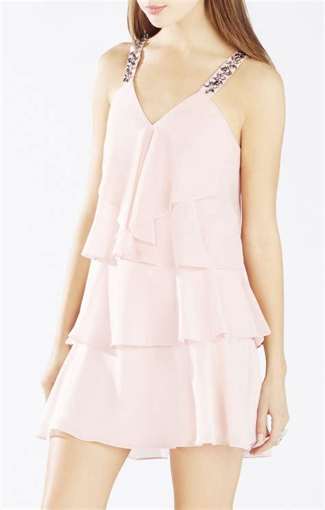 light pink halter dress bcbgmaxazria carlotta ruffle halter dress in pink light