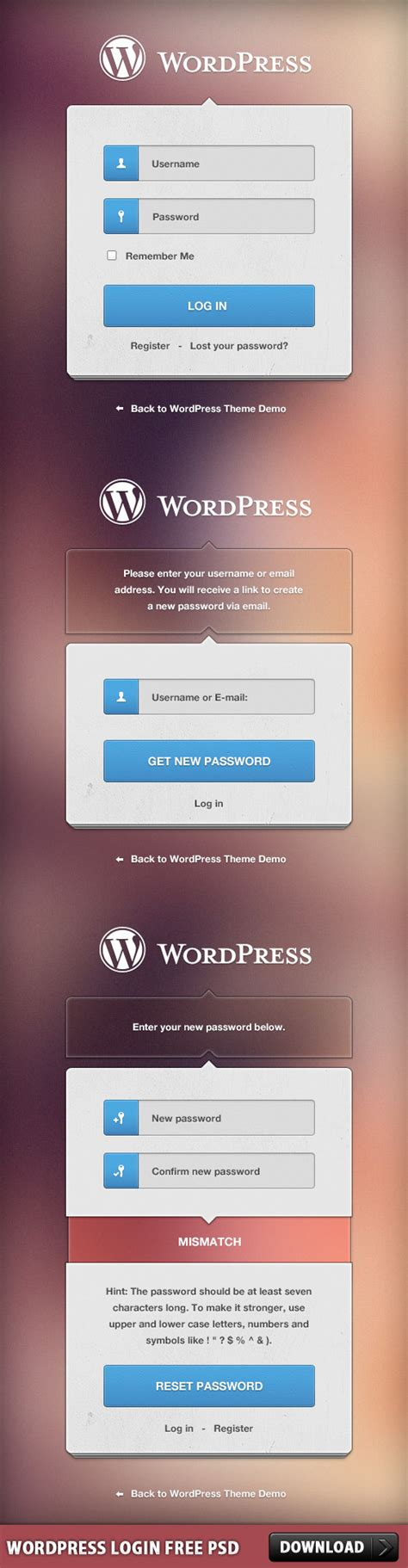 wordpress themes free login wordpress login free psd download download psd
