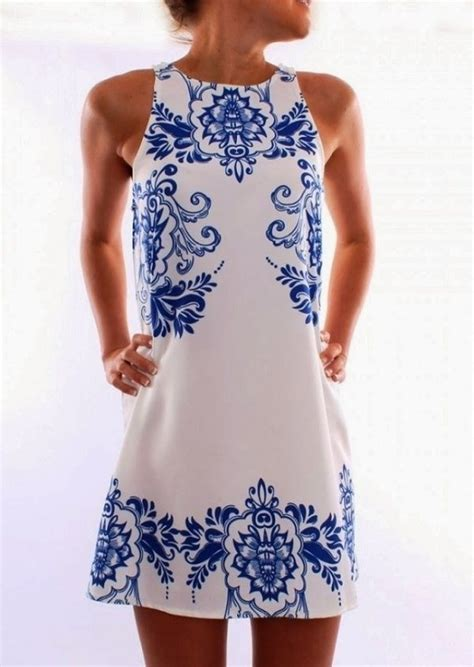 Blue And Flower Flowers S M L Dress 43431 dress blue and white floral teacup wheretoget